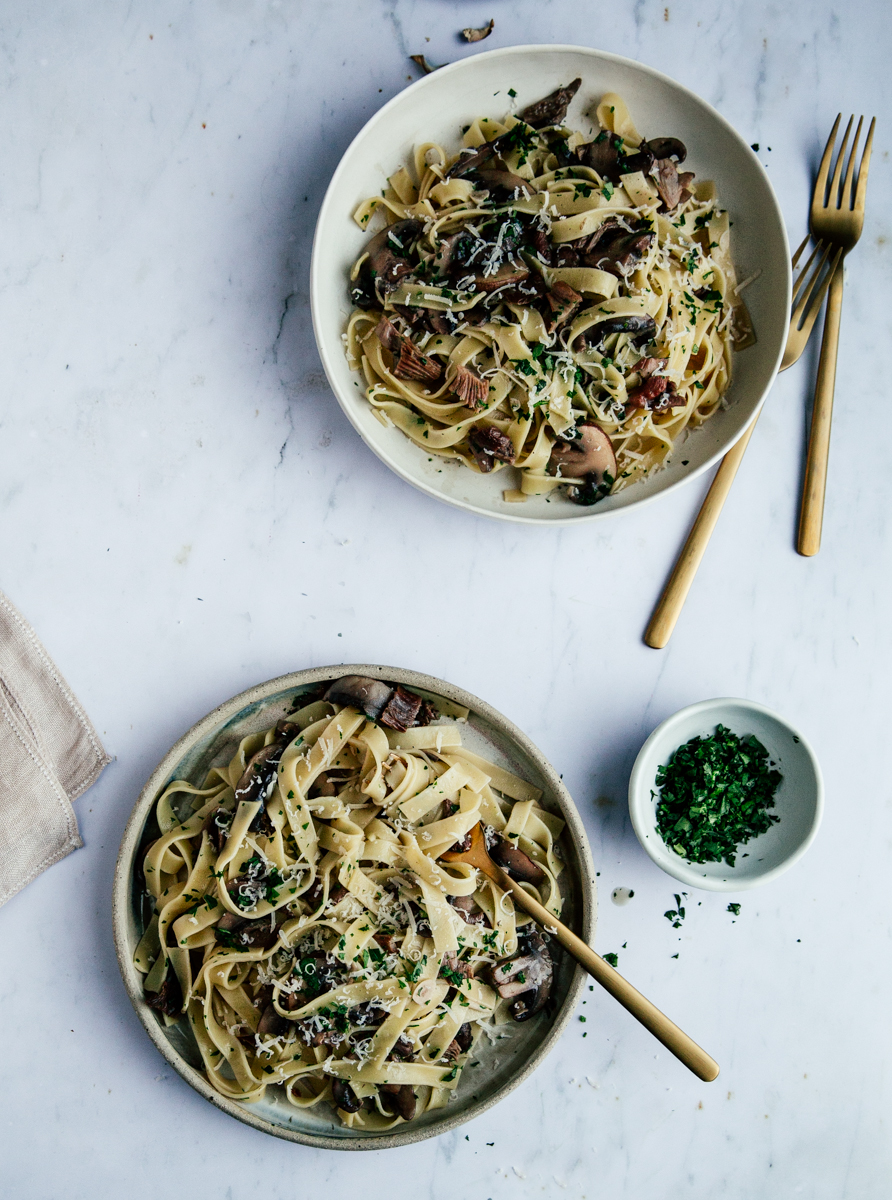Dried & fresh mushroom tagliatelle with white wine