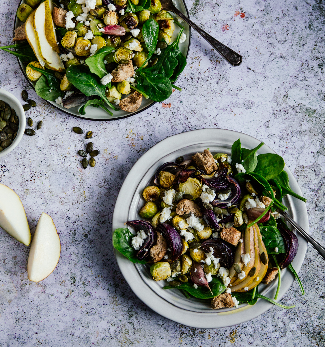 Brussels sprouts, pear & spinach salad with feta & croutons