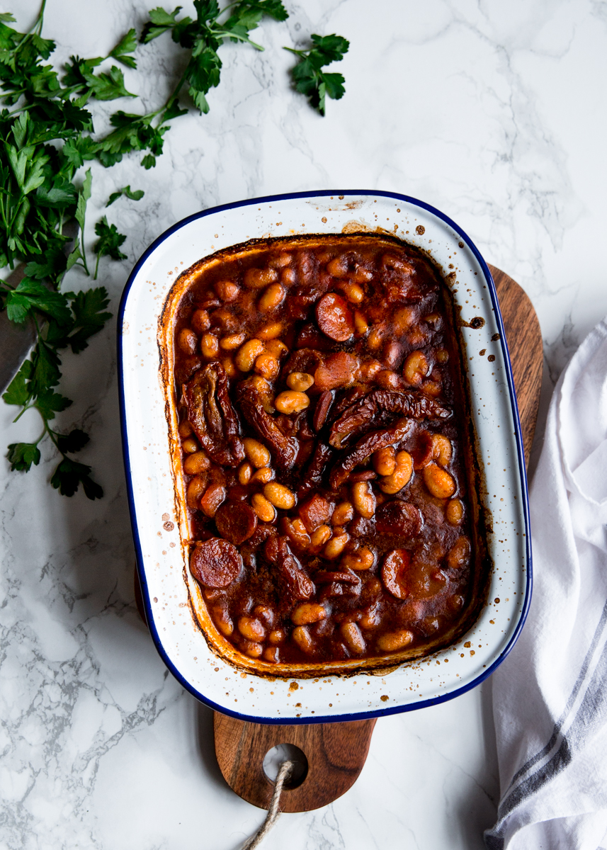 Baked beans with harissa, chorizo & sun dried tomatoes